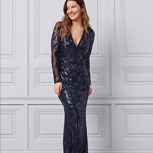 PROM/ EVENING Long Sleeve Sequin Maxi Gown